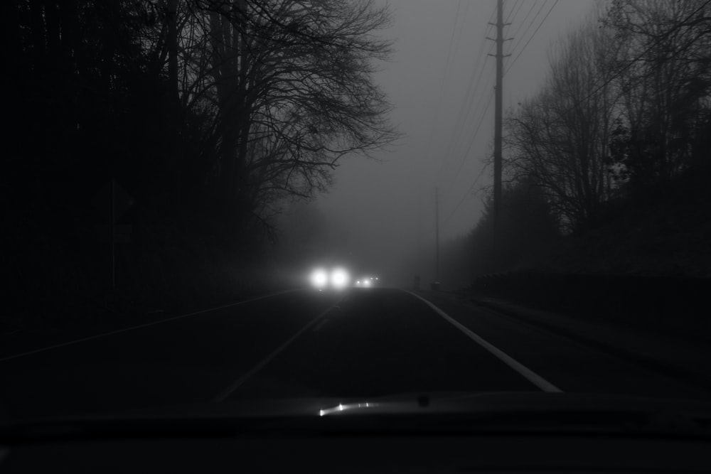 grayscale photo of vehicle on road between trees