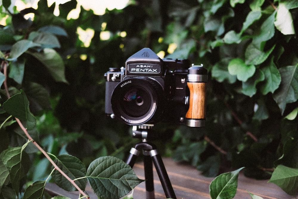 black camera in tripod