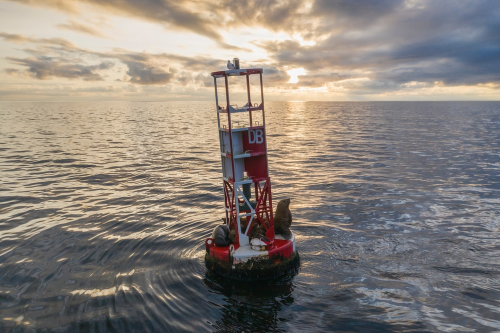 red and white buoy tower
