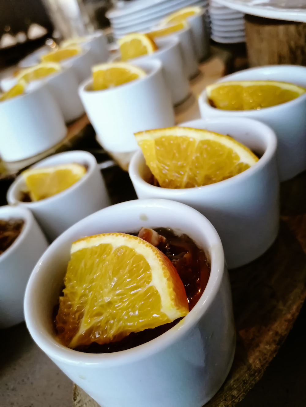 round white cup with food and lemon