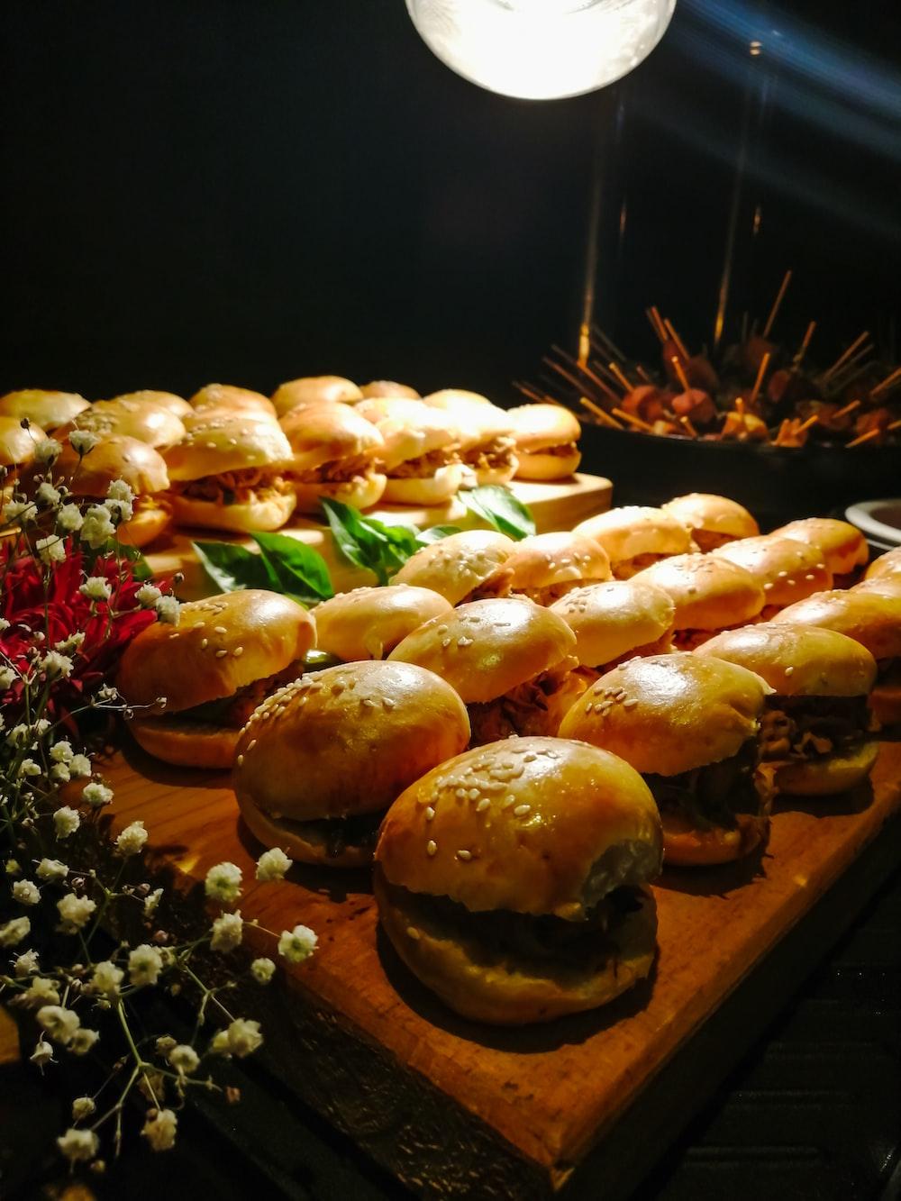 tasty burgers on table