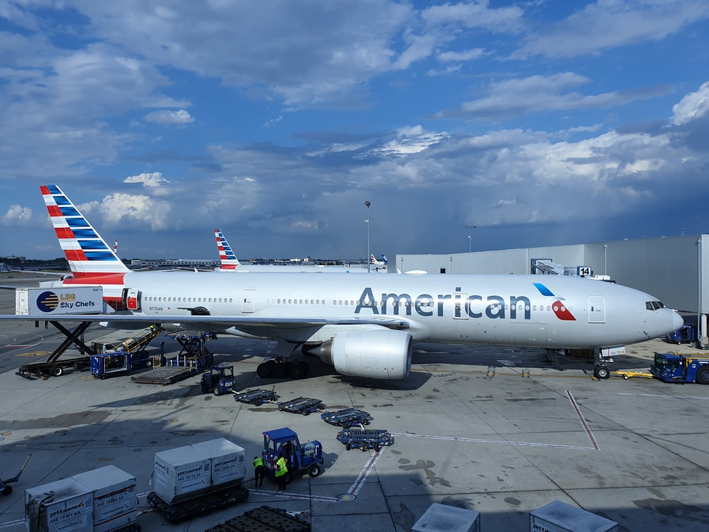American airliner on airfield during day