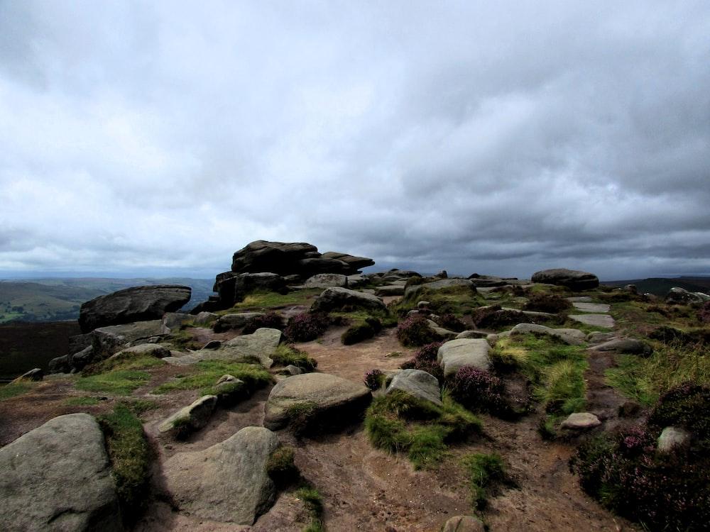 gray stones under cloudy sky