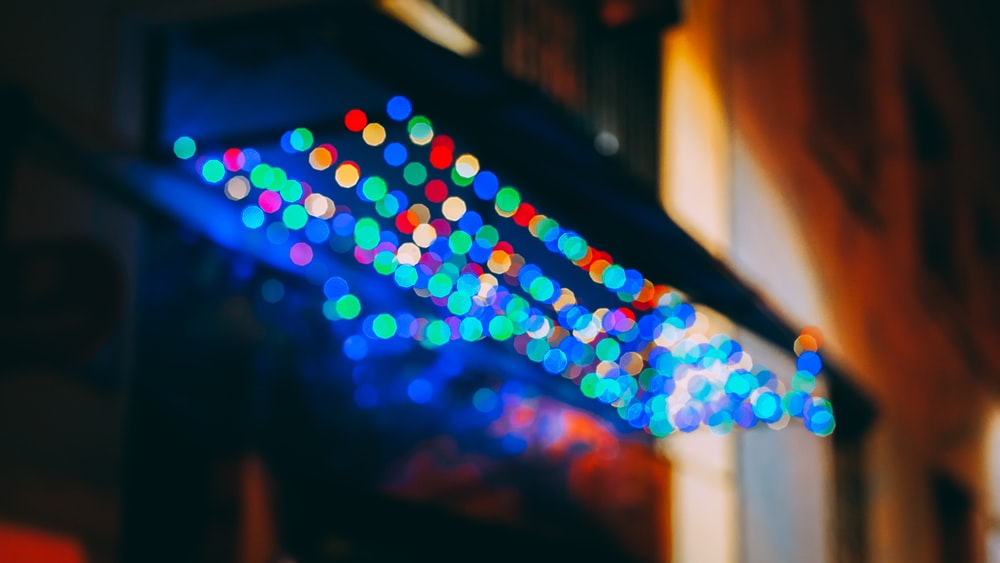 blue and multicolored bokeh lights