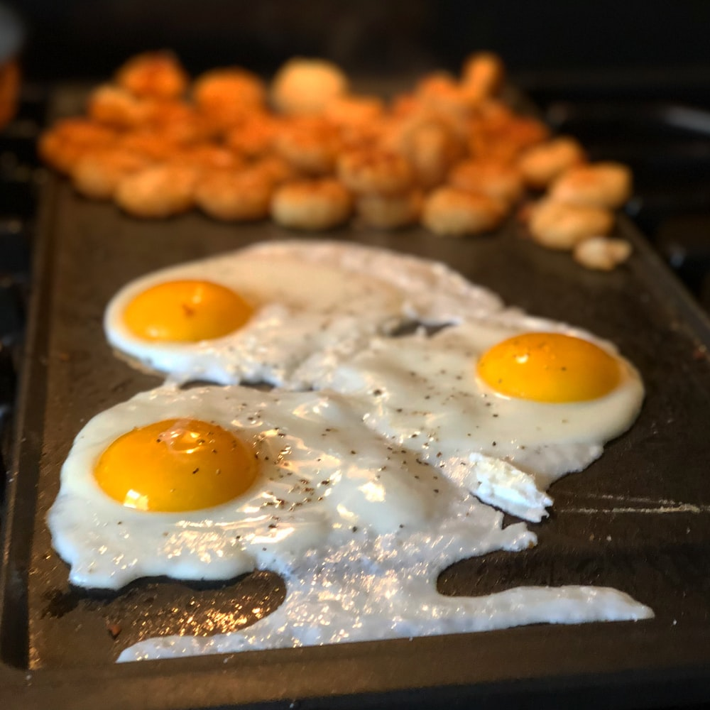eggs on griddle