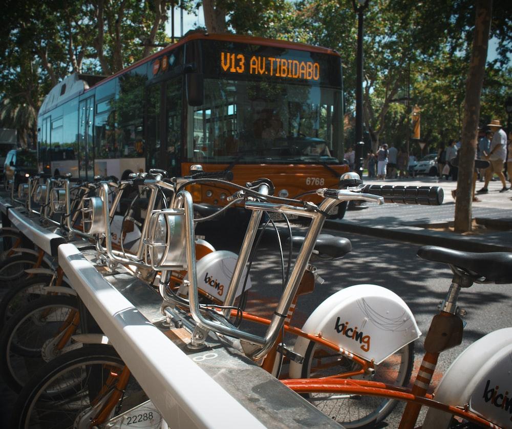 bus near bikes