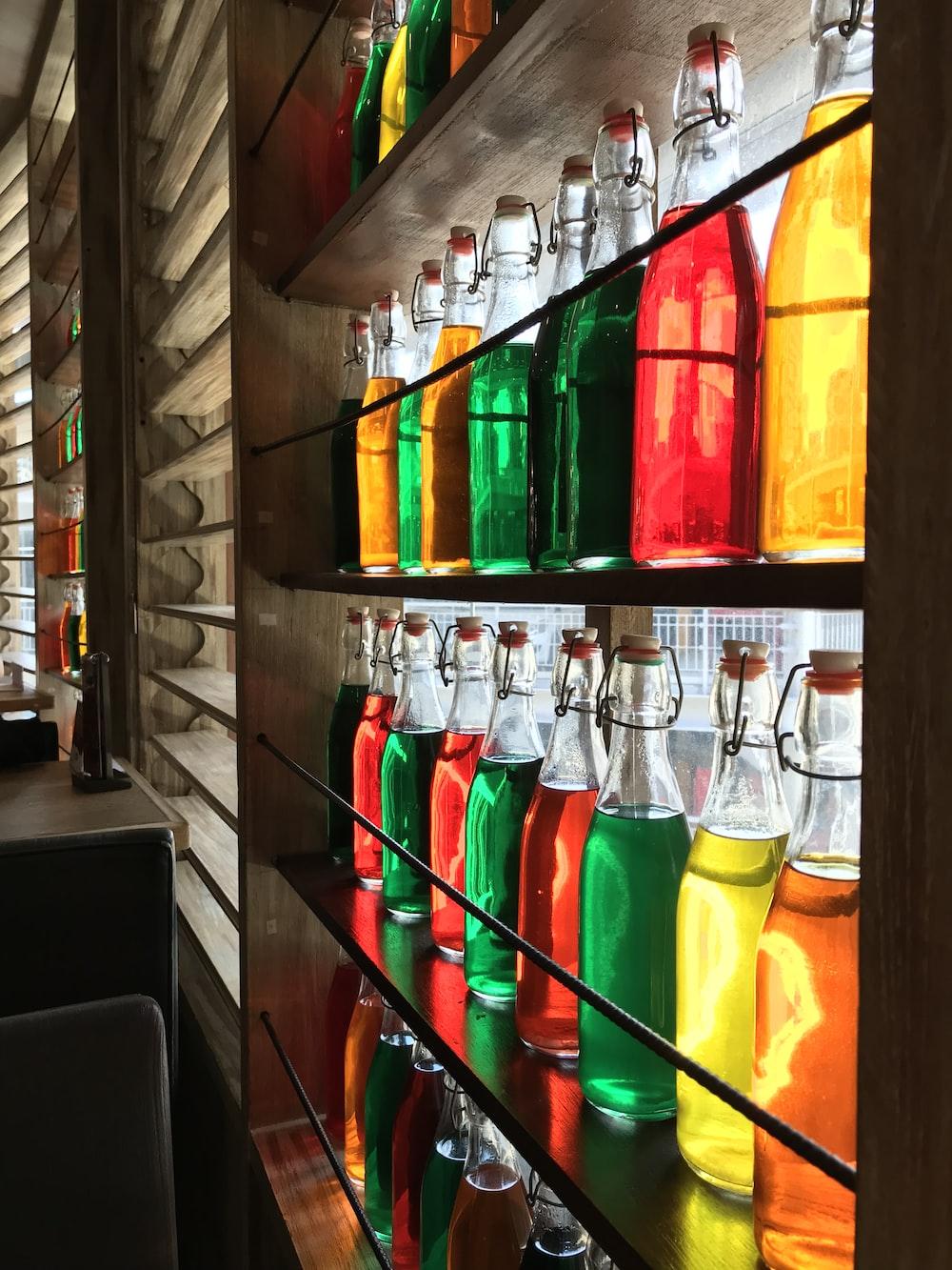 assorted-color bottles