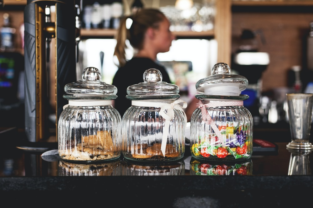 clear ribbed glass candy jars