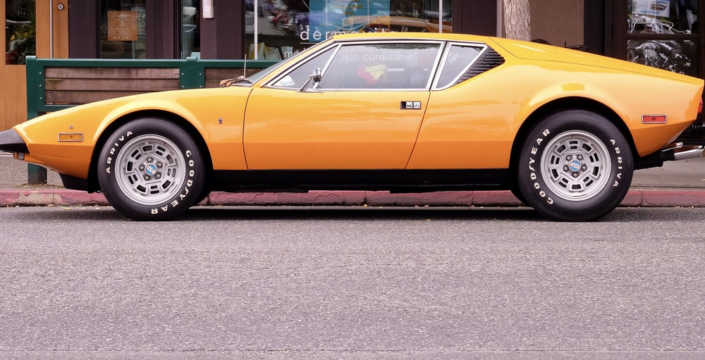 yellow sports coupe