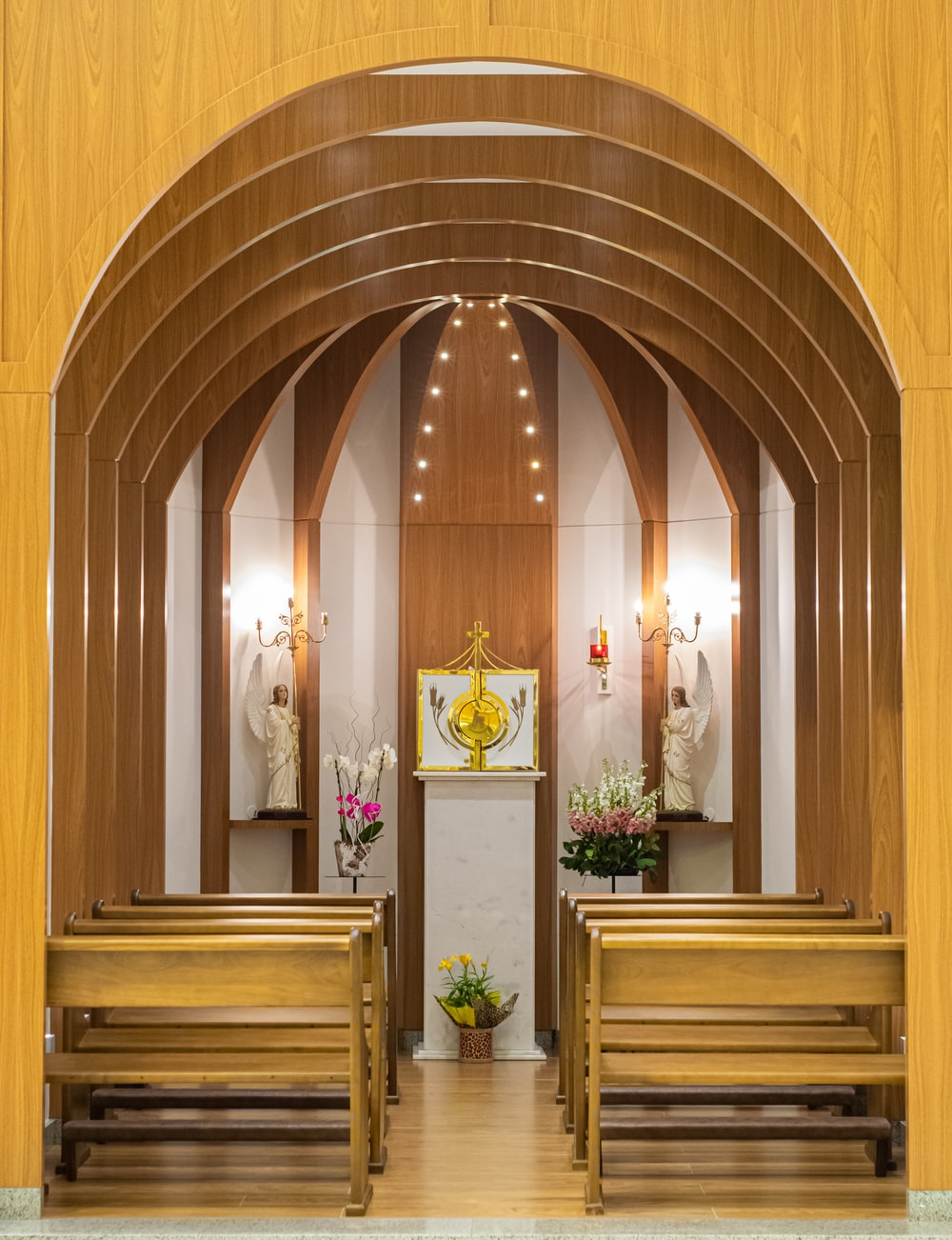 brown cathedral interior photography