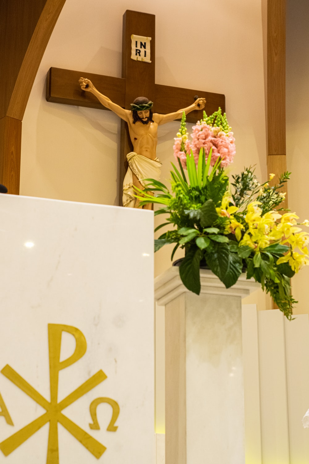 crucifix and flowers