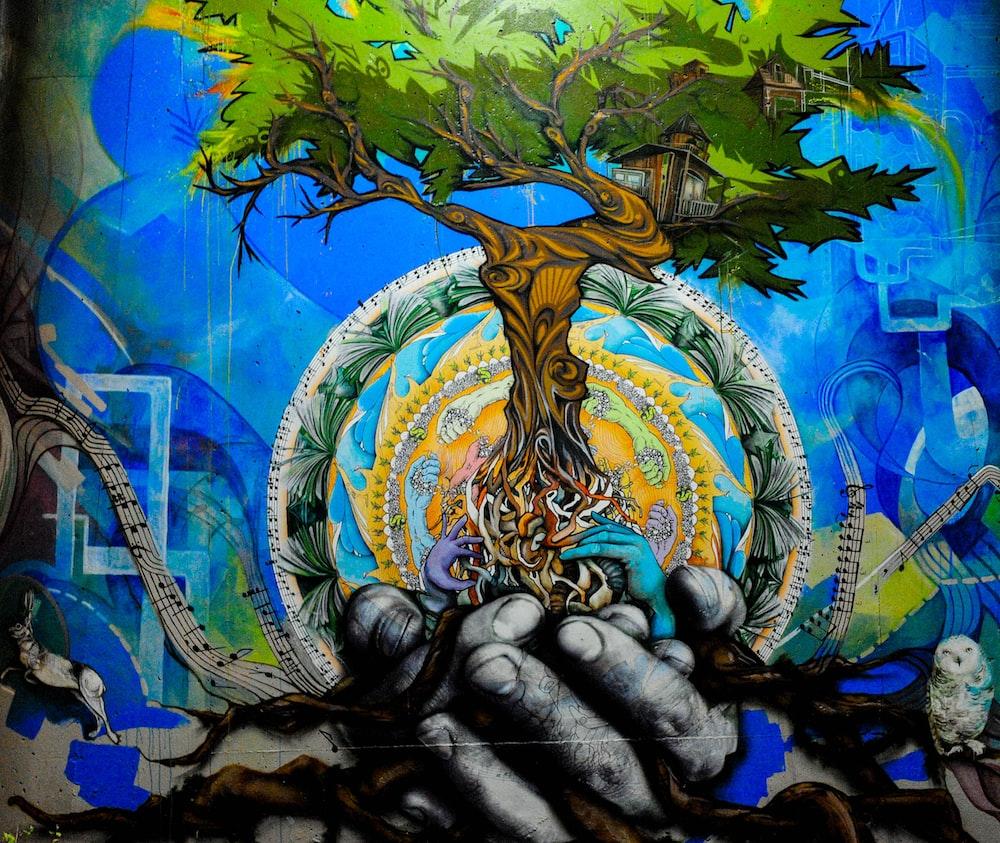 tree on human hands illustration