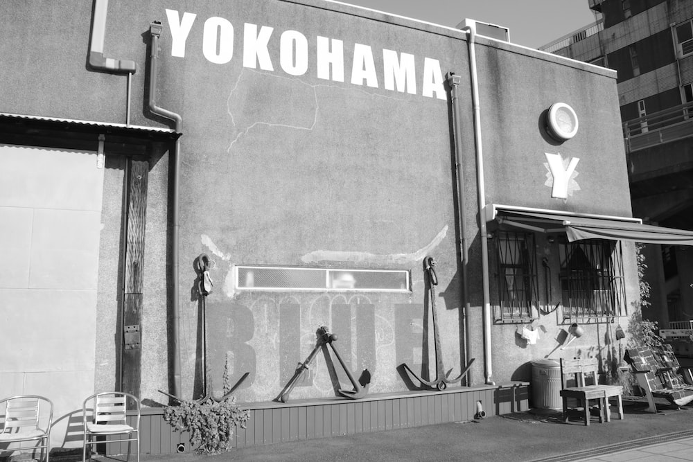 grayscale photo of Yokohama building