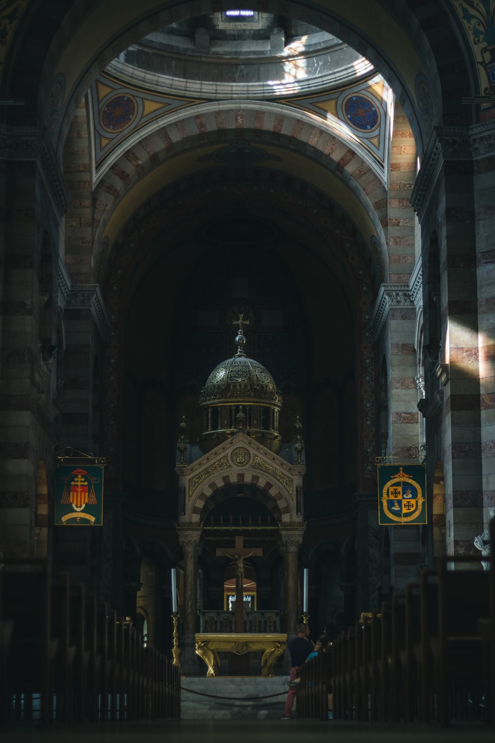 low-angle photography of cathedral interior