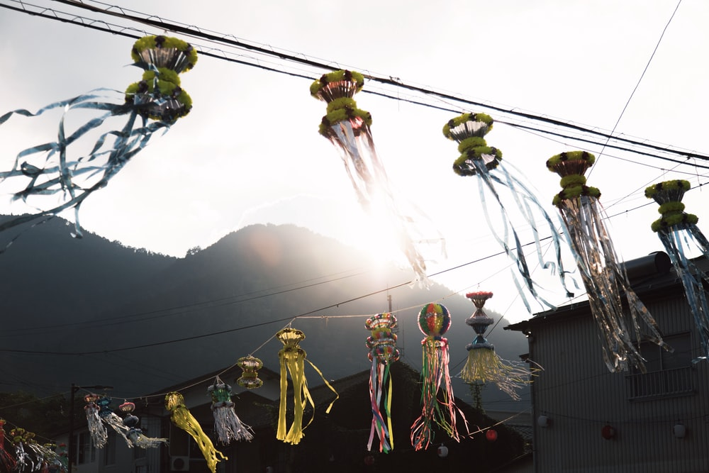 hanged ornaments outside building during daytime