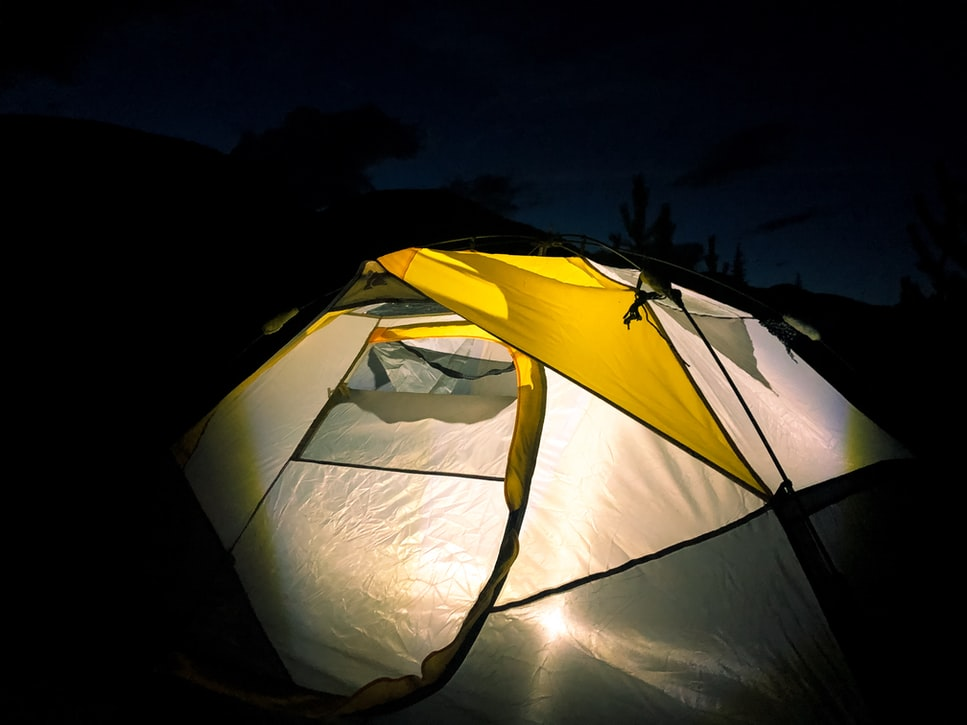 glow in the dark tent at night camping cold