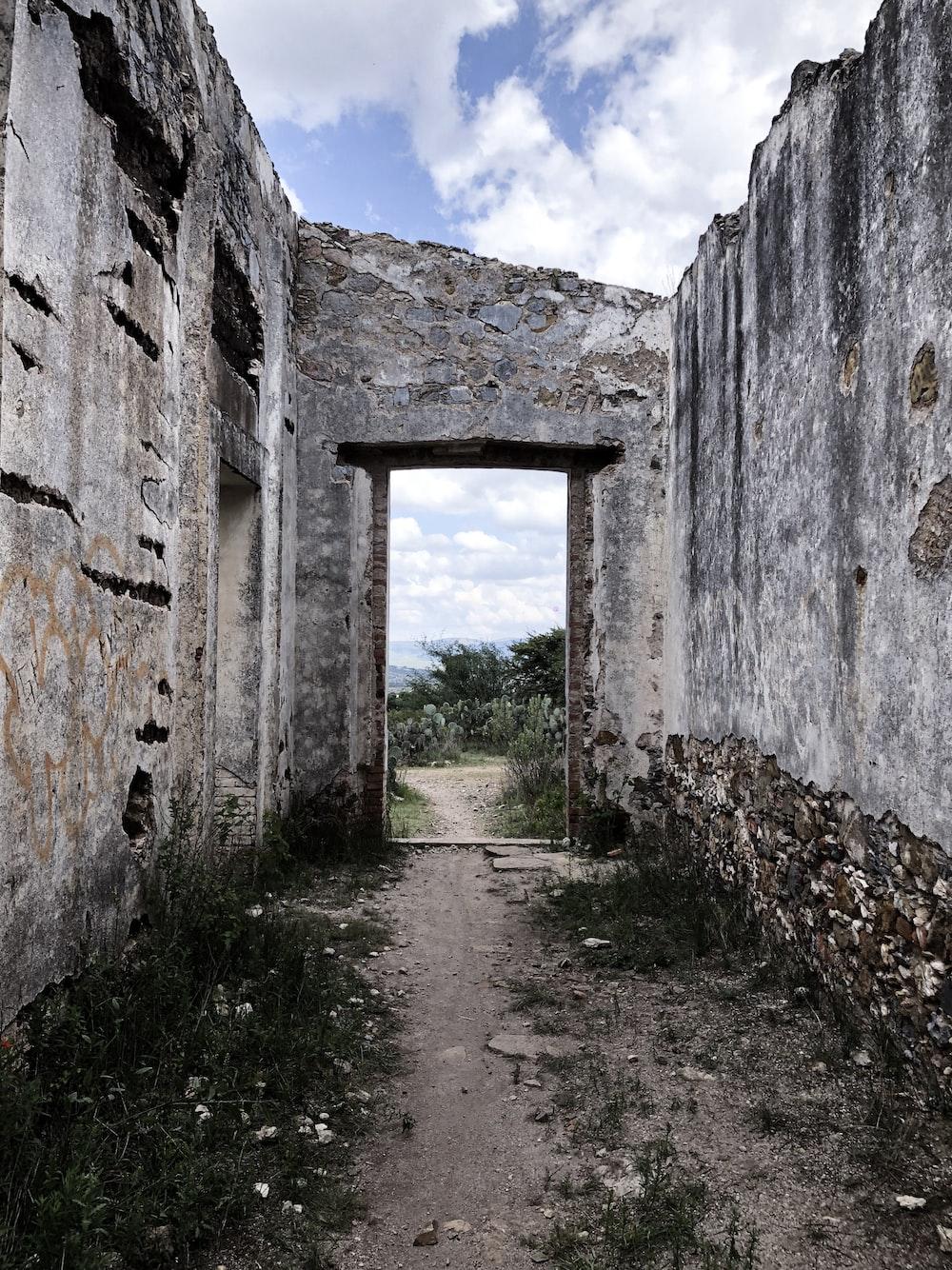 grey concrete ruins close-up photography