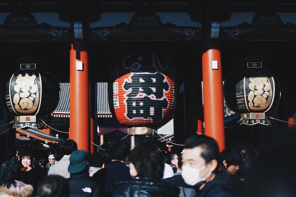 people walking in temple