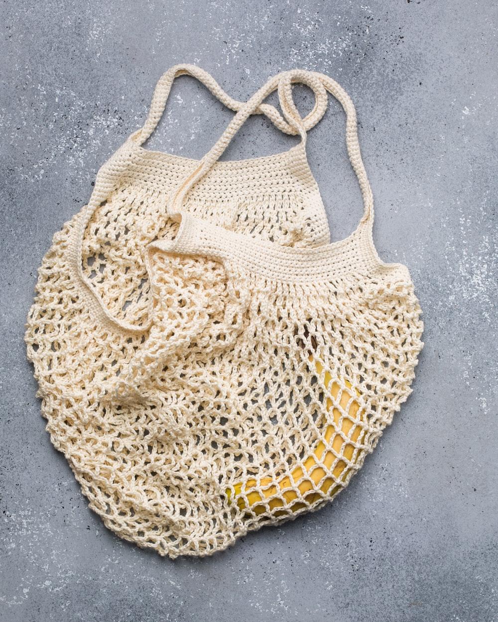 beige knitted basket