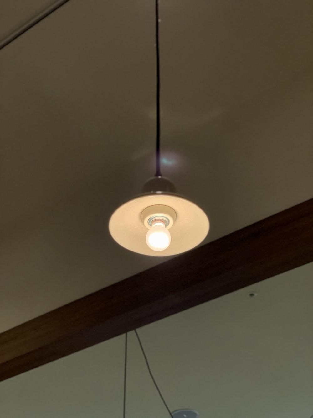 turned-on lamp