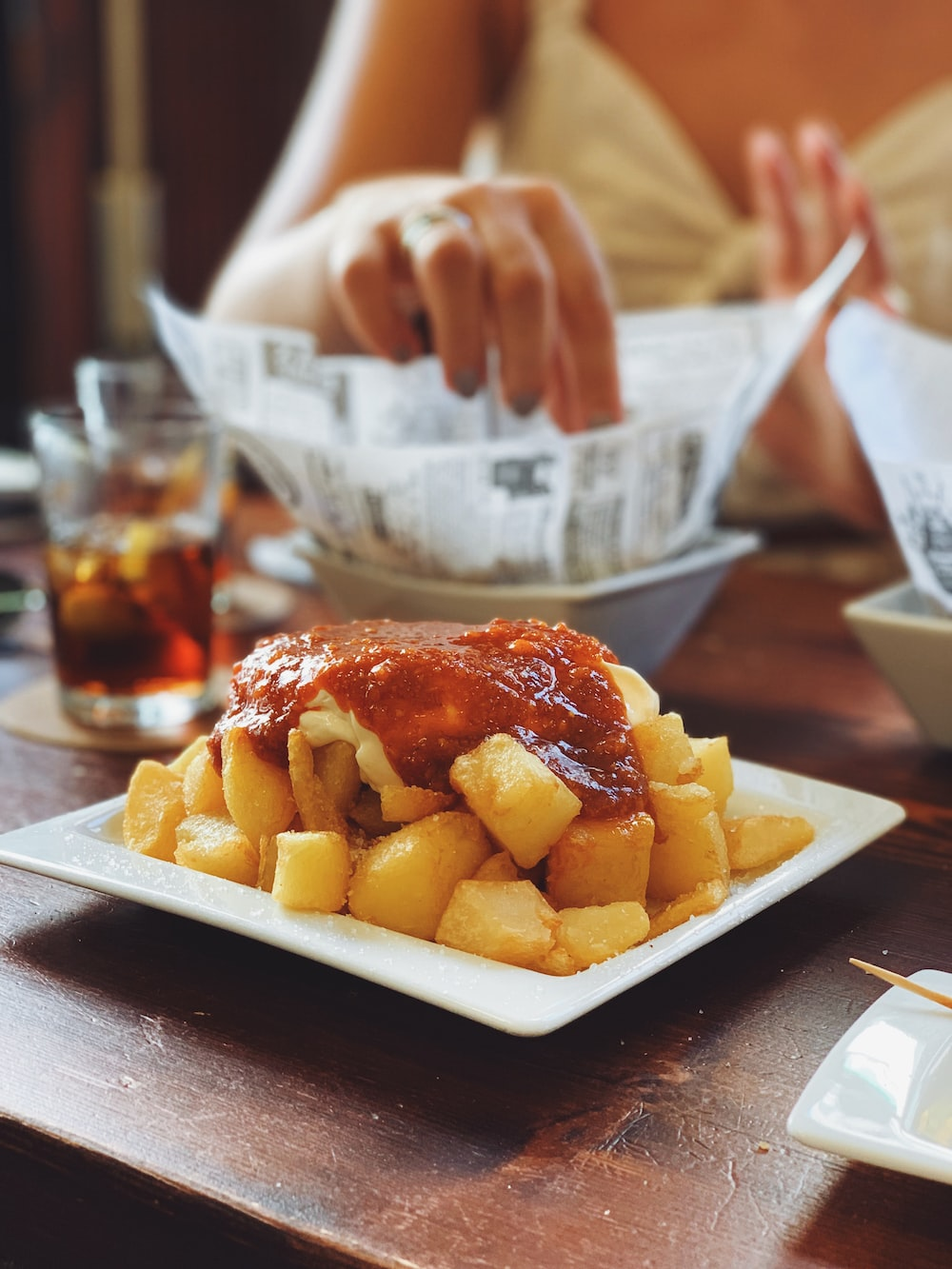 fried food with sauce