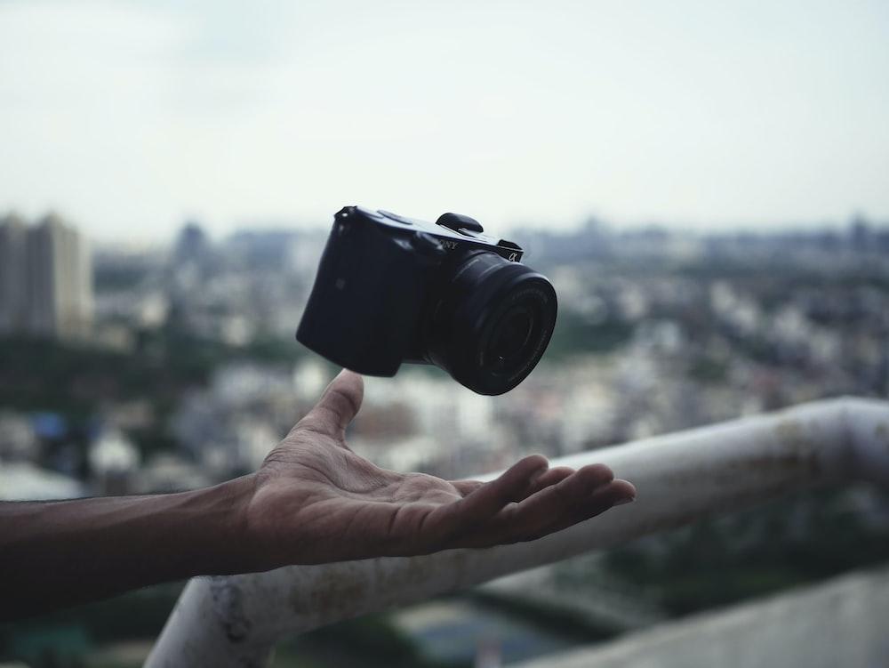 black DSLR camera macro photography