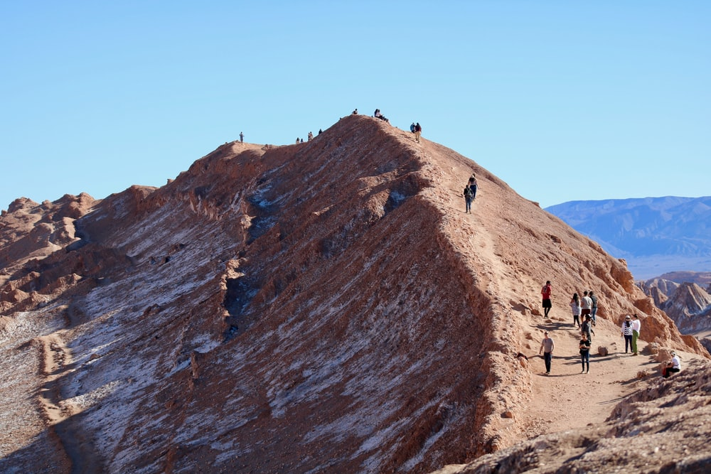 people in a hill under blue sky during daytime