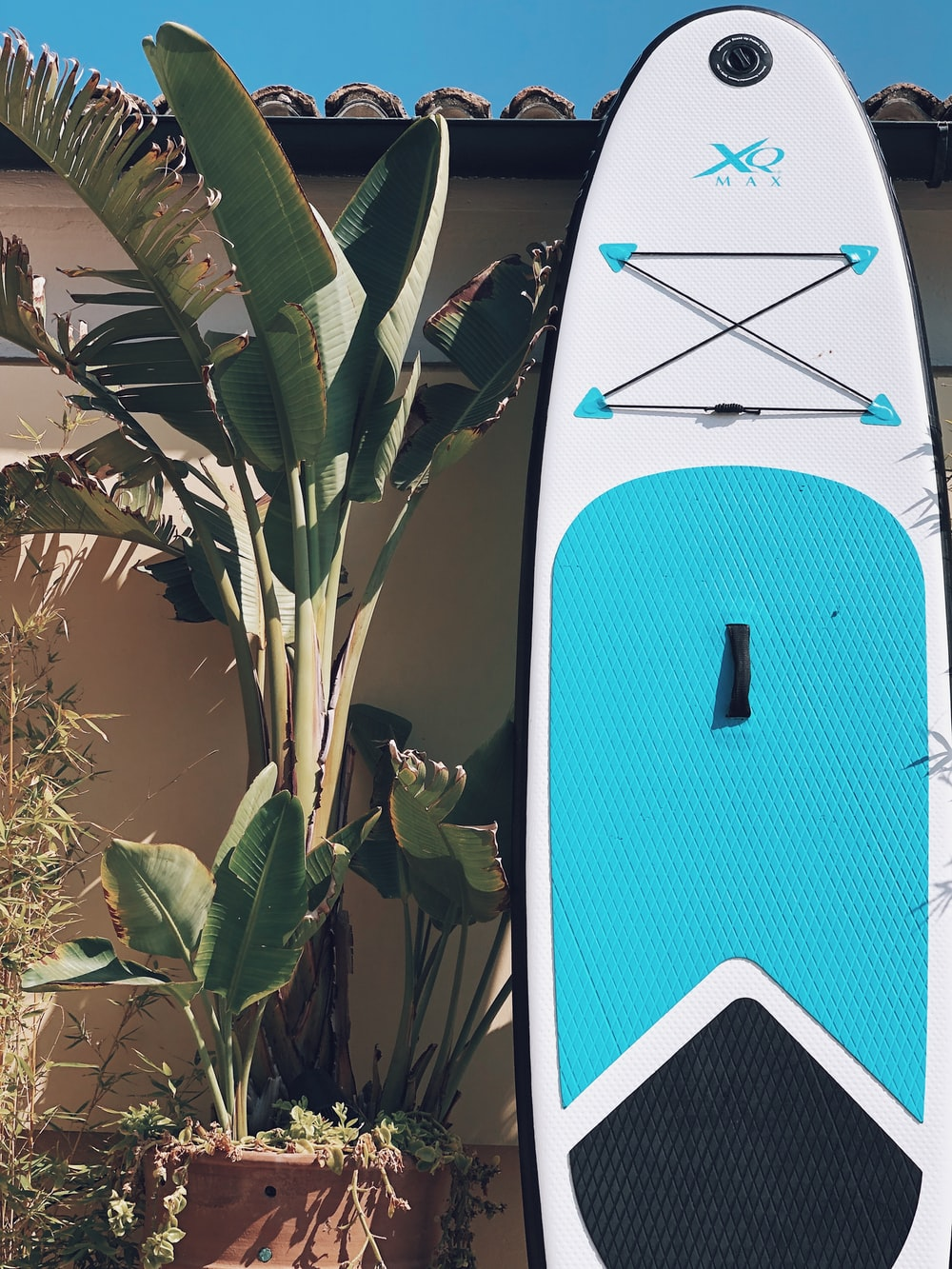 white and blue paddle board