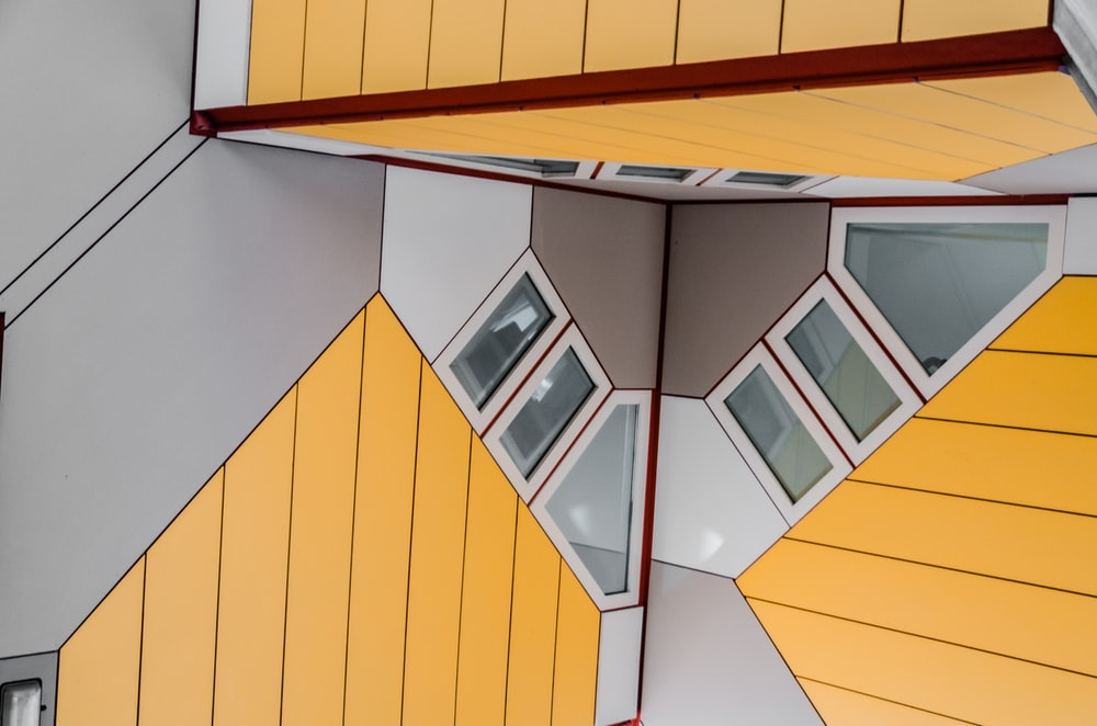 gray, white, and yellow walls