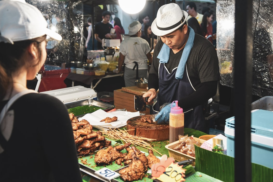 The delicious street food in the night market.