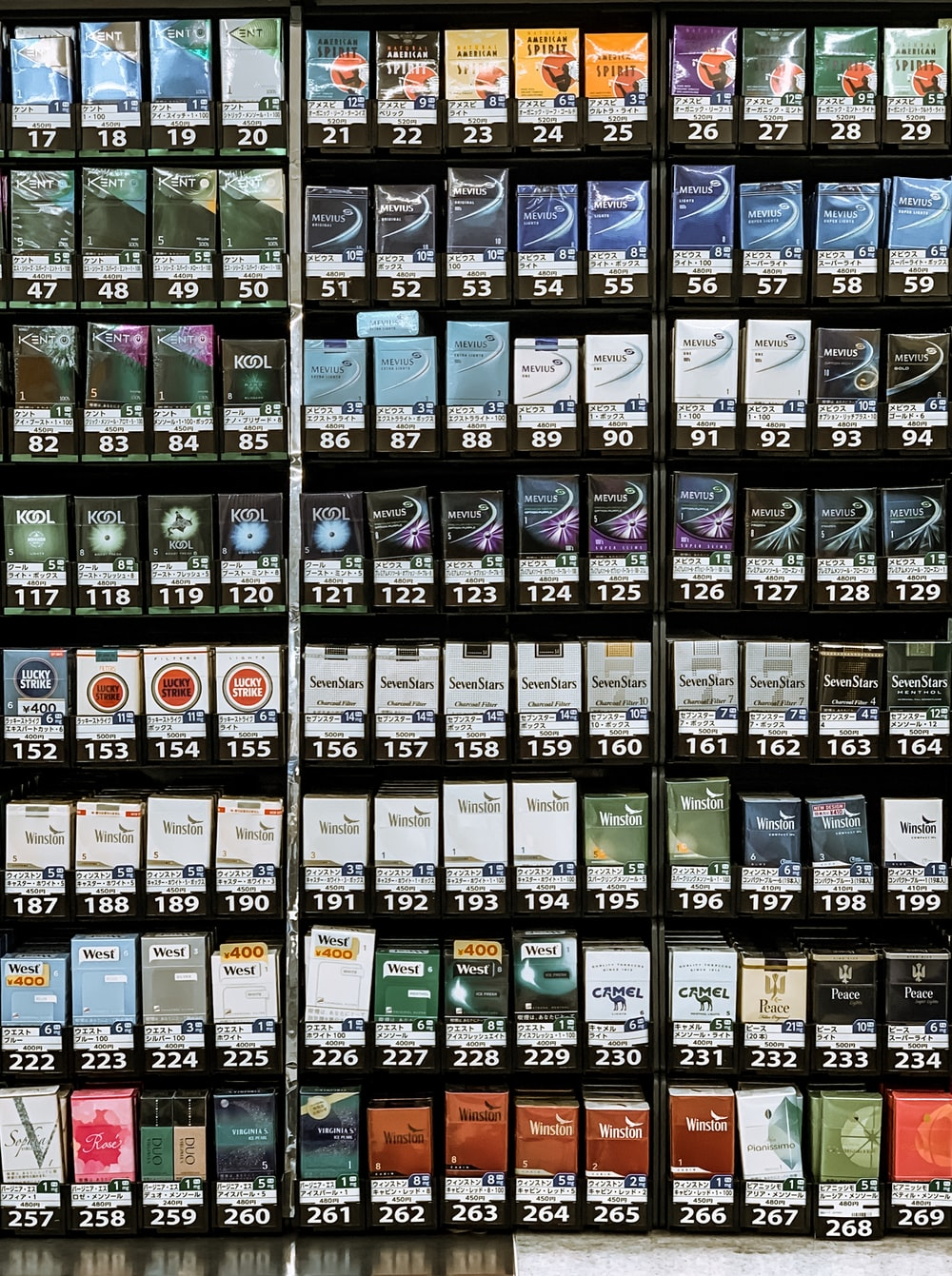 assorted flavor of cigarettes on display