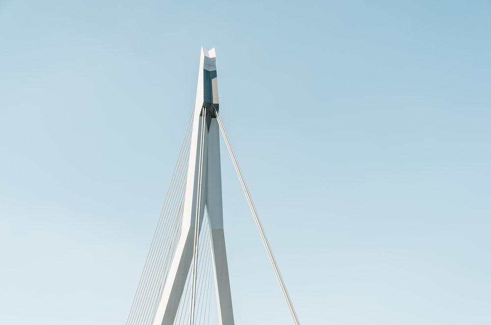 white cable bridge under clear blue sky