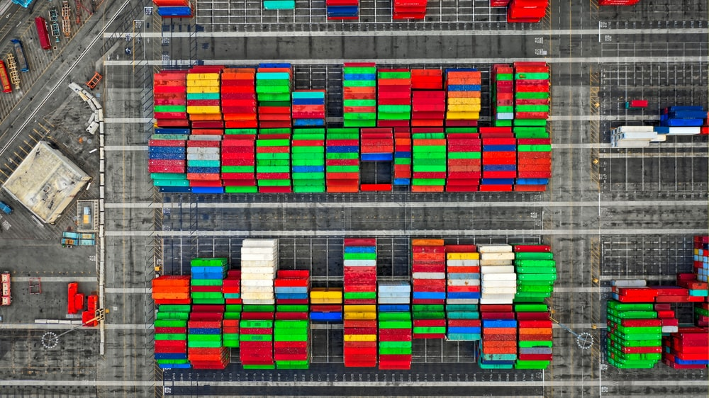 aerial photography of shipping containers