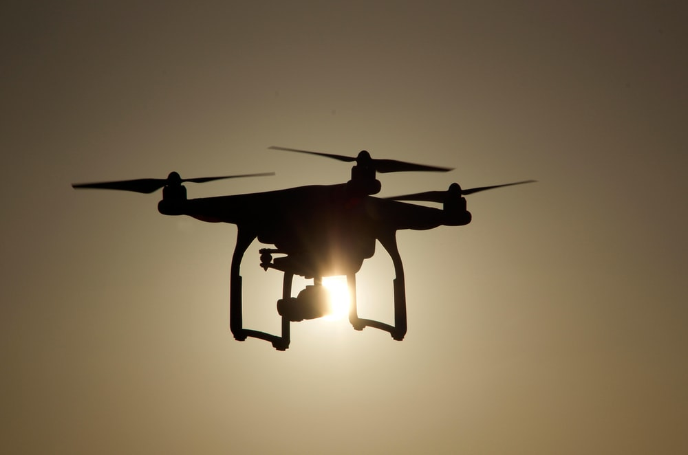 silhouette of quadcopter