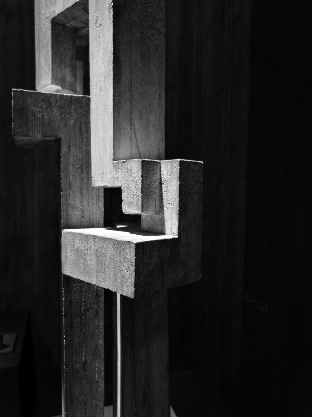 grayscale photography of concrete blocks