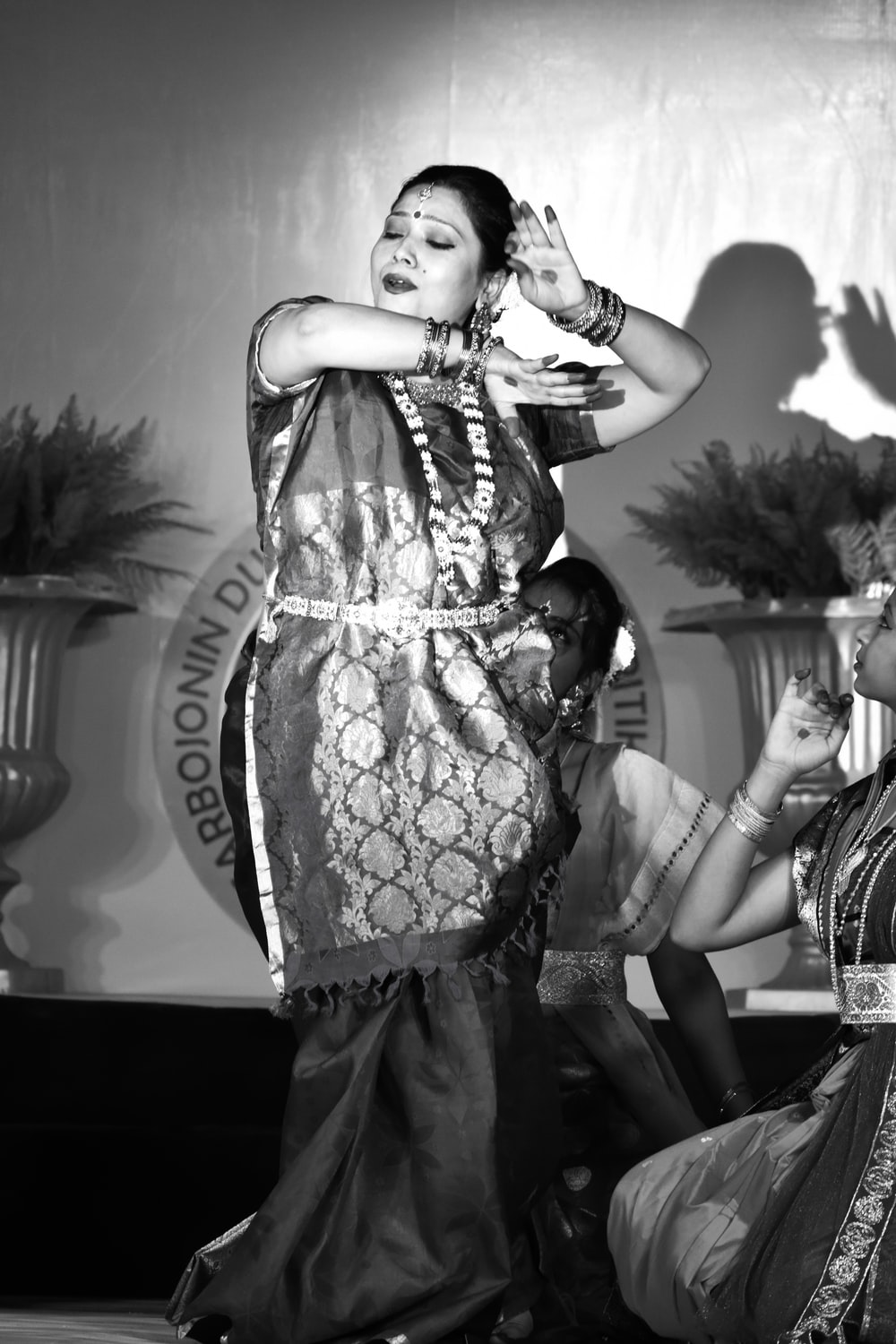 grayscale photography of woman dancing