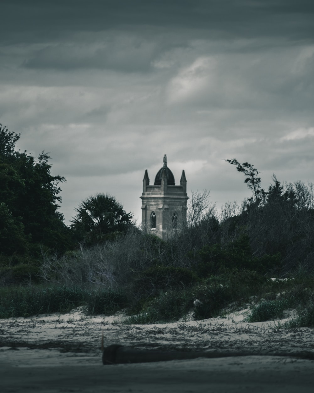 greyscale photography of tower