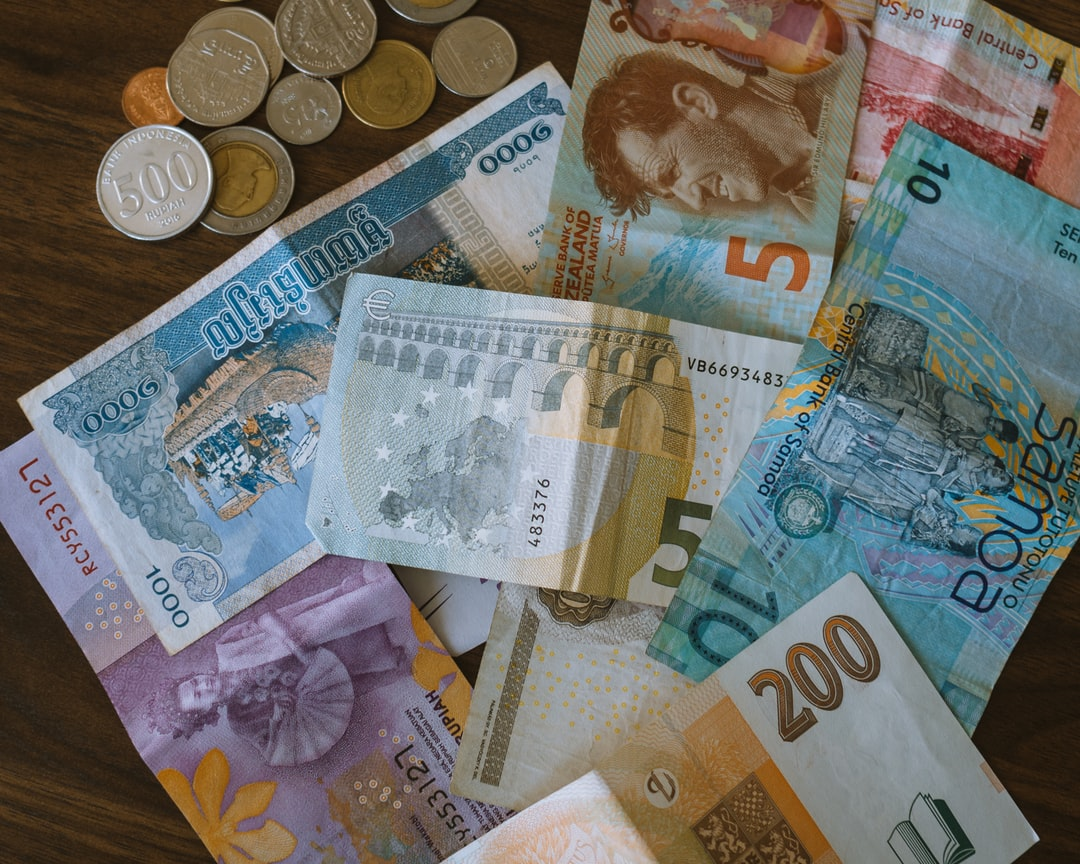 Foreign currency collected from a number of different countries.