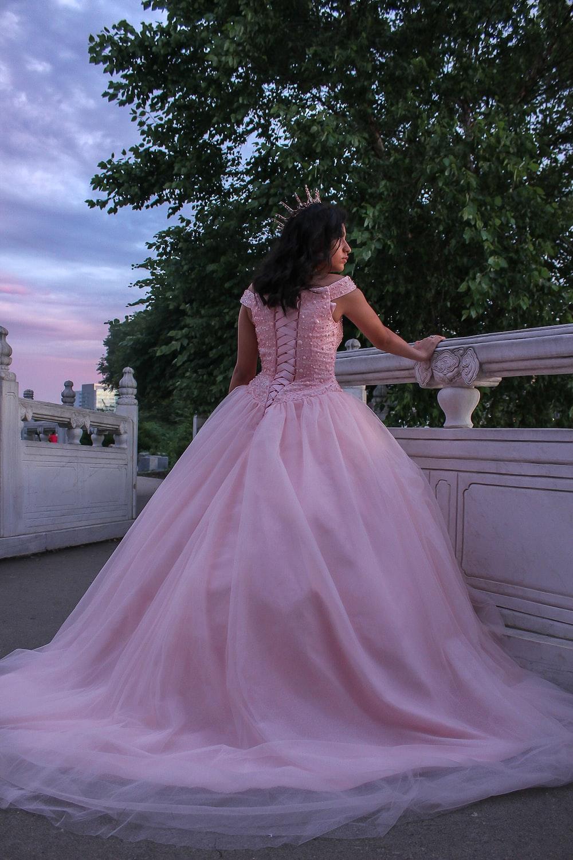 women's pink evening dres