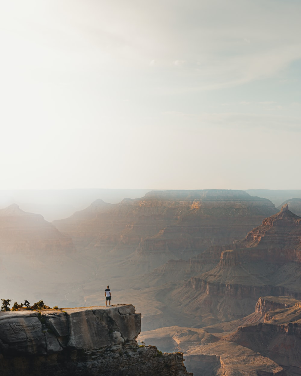 person standing on rock cliff during daytime