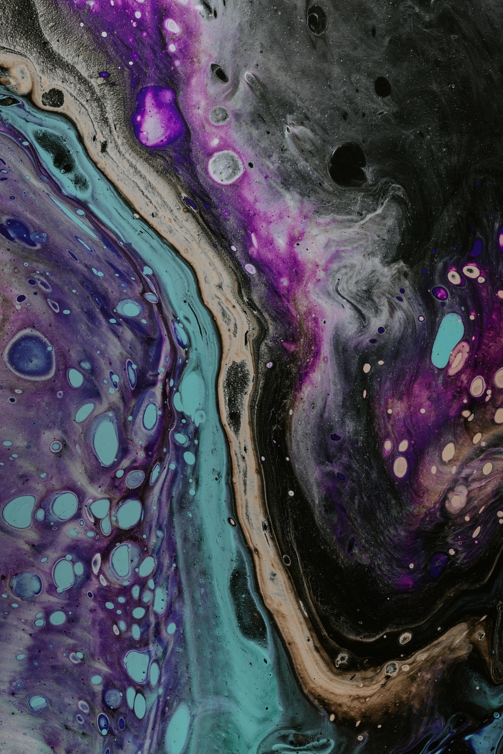blue, purple, and teal abstract painting