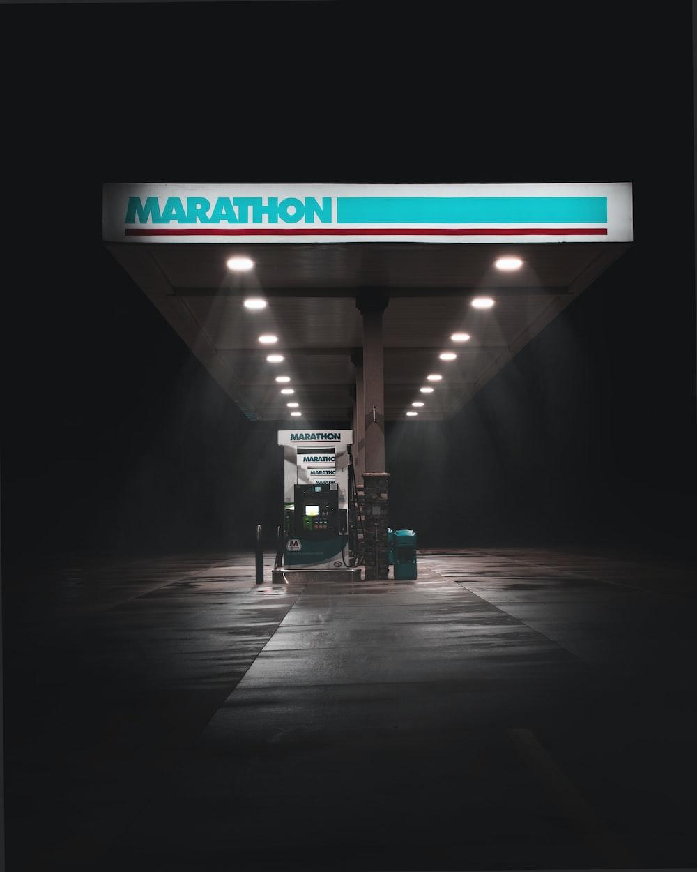 lighted Marathon gas station
