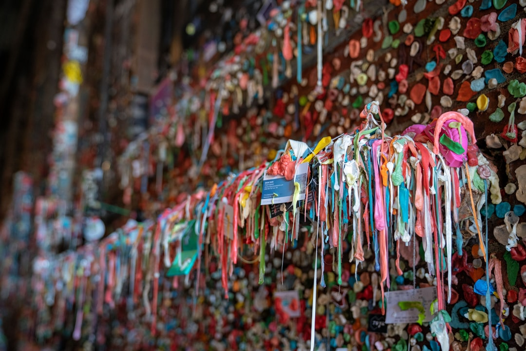 One of Seattle's most popular tourist attractions, the gum wall. It's a wall covered in gum