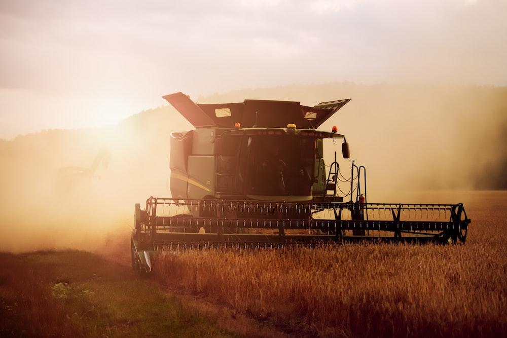 black farming harvesting machine