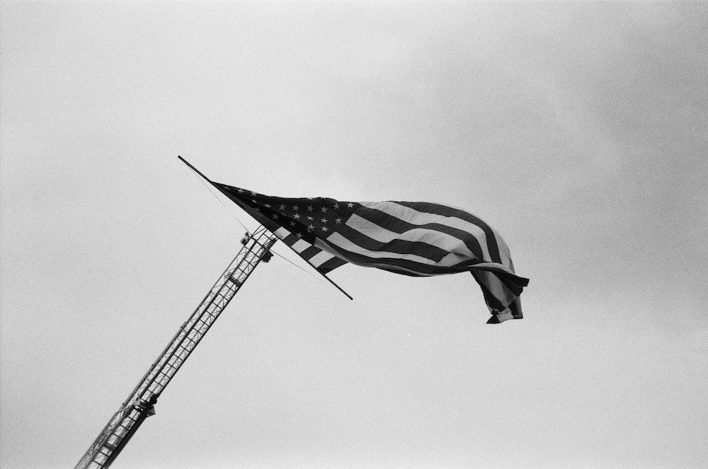 grayscale photo of USA flag