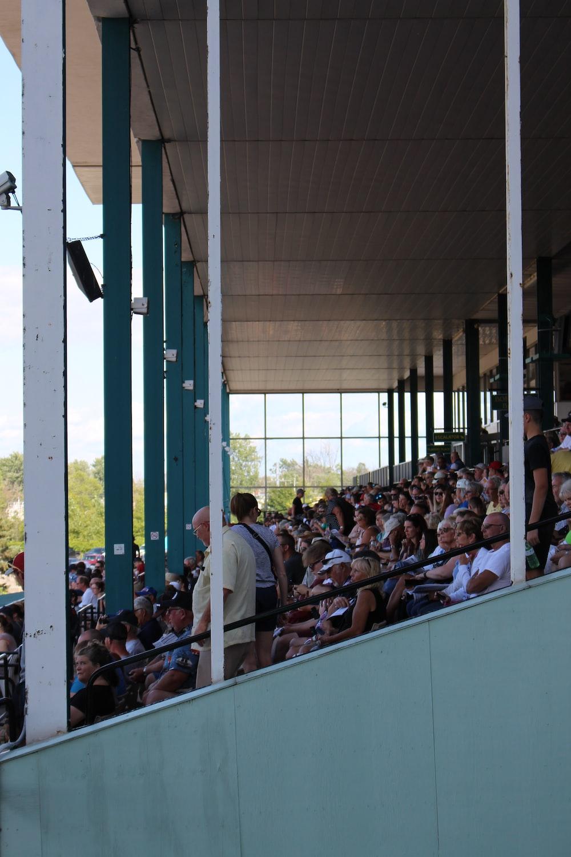 crowd of people sitting on stadium bleachers during daytime