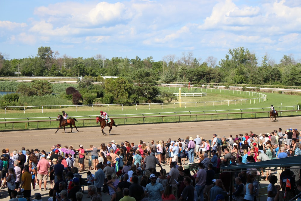 people watching horse race at daytime