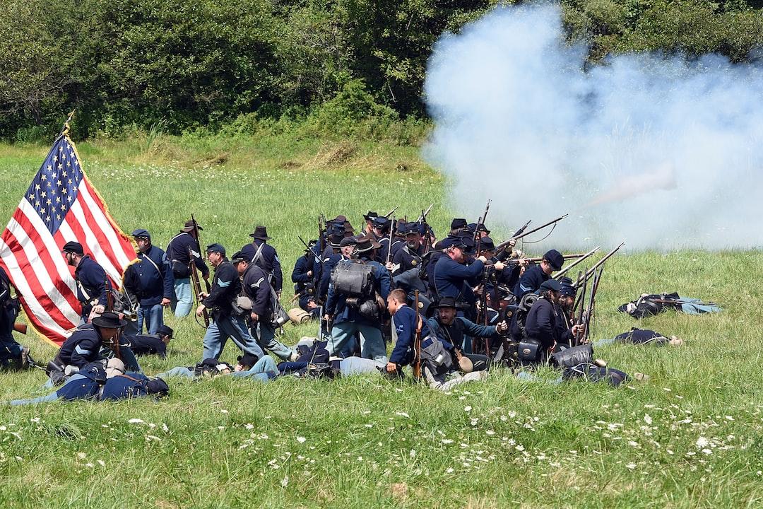 Union infantry advance. Civil War reeanactment