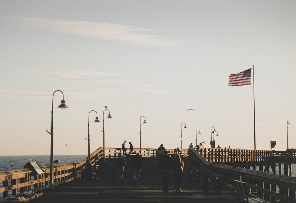 USA flag on pople