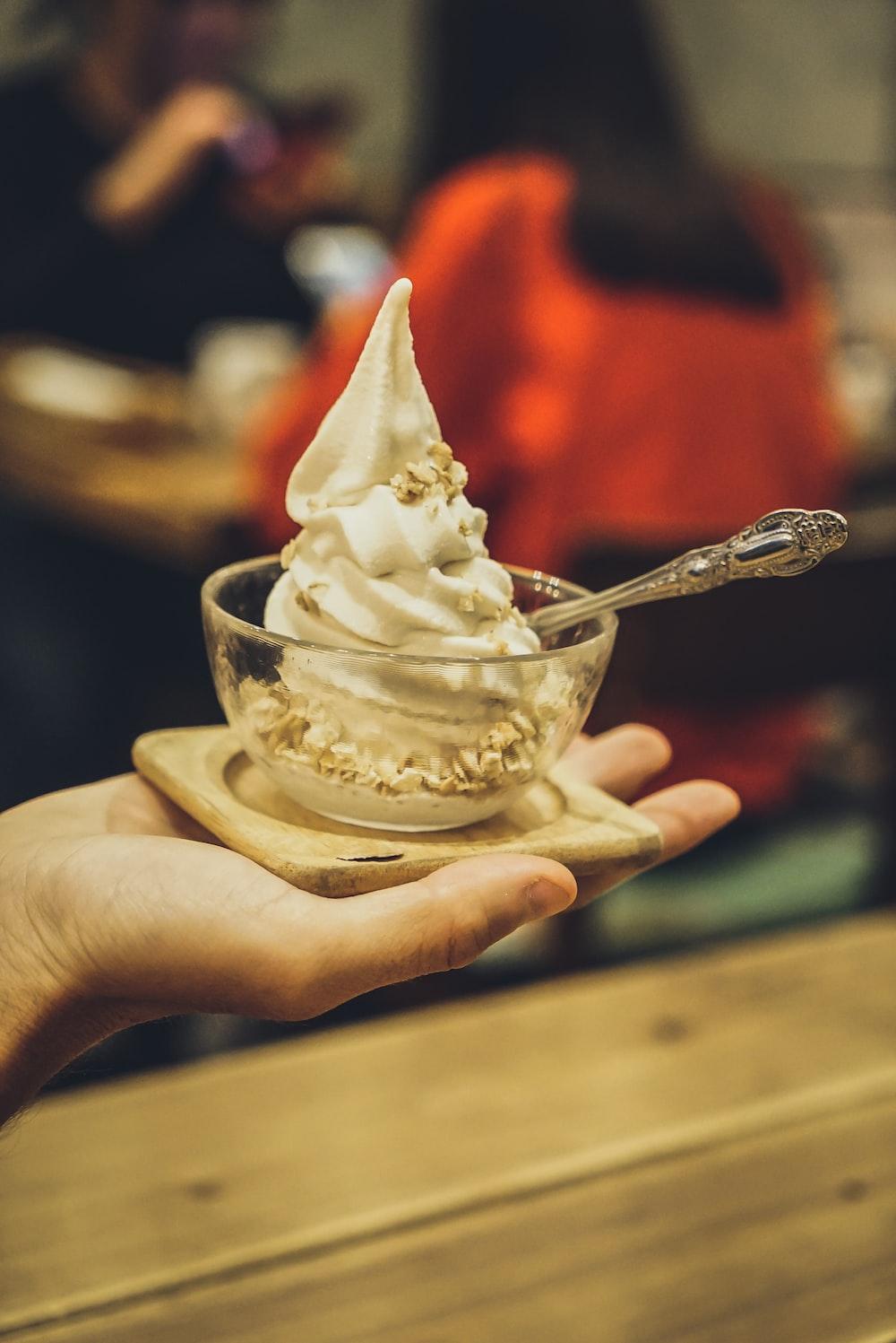 selective focus photography of ice cream